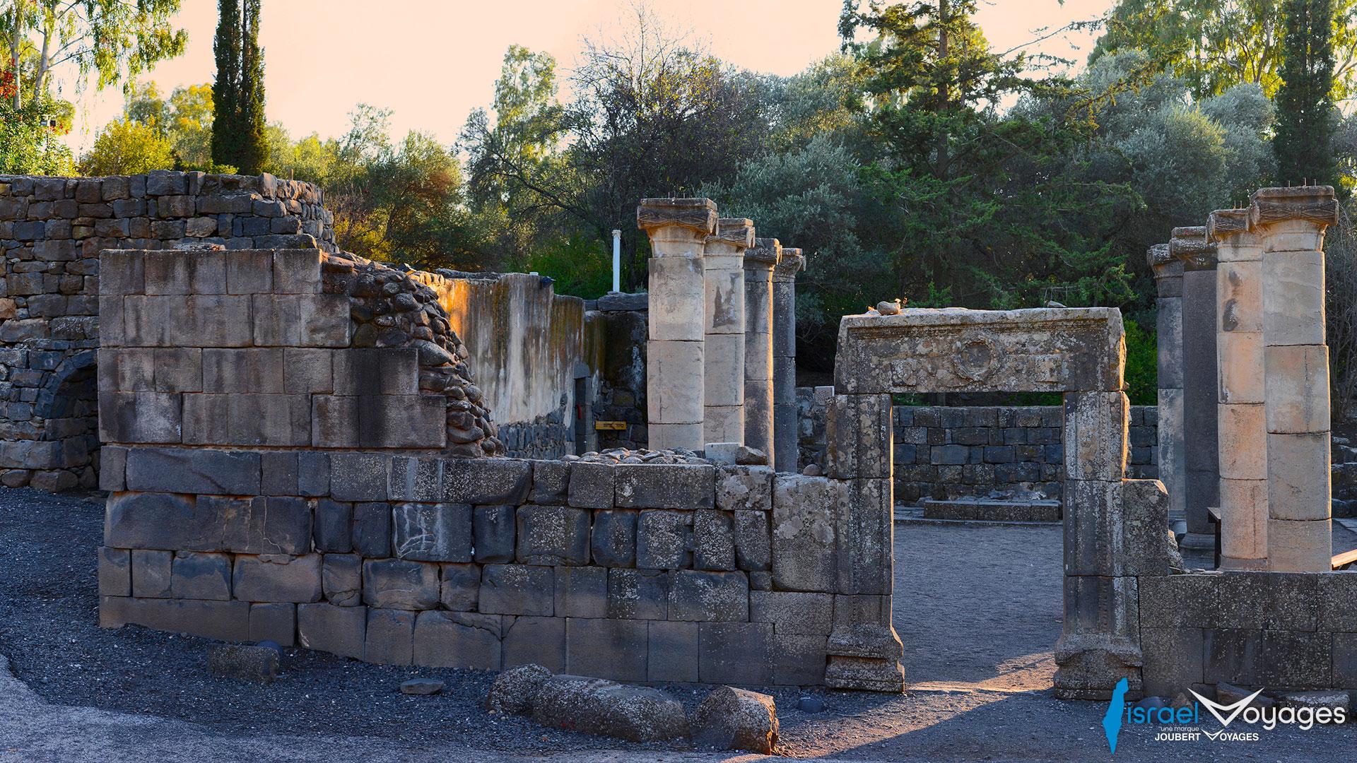 Ruines d'une ancienne synagogue à Katzrin sur les hauteurs du Golan